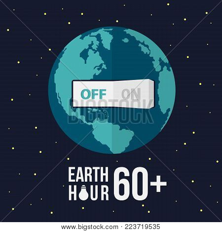 Earth hour with swicth turn off on earth and stat vector design