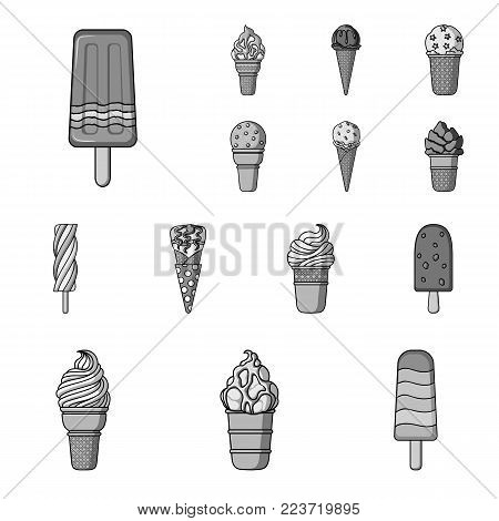 Different ice cream monochrome icons in set collection for design. Dessert and sweetness vector symbol stock  illustration.