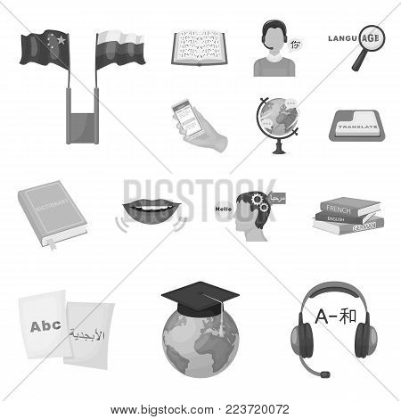 Translator and linguist monochrome icons in set collection for design. Interpreter vector symbol stock  illustration.
