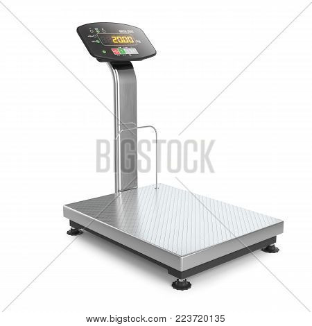 Industrial digital scale. Object isolated on white background 3d
