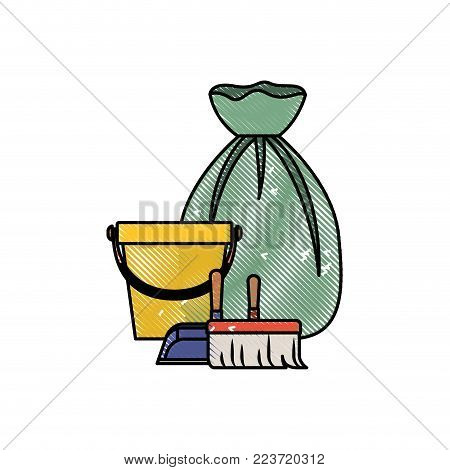 bucket and dustpan and broom and garbage bag in colored crayon silhouette vector illustration