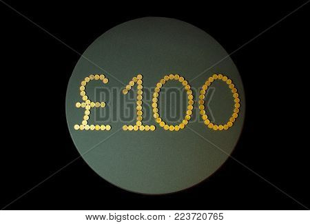 One Hundred Pound Sterling Coins Abstract Background.