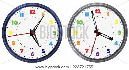 Vector set of Rainbow colors modern round clock with various clock hands. Rainbow colorful vector clock dial face. Vector clock arable numerals watch pointers. Modern vector watch