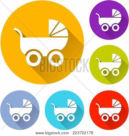 Illustration of six pram icons with shadow