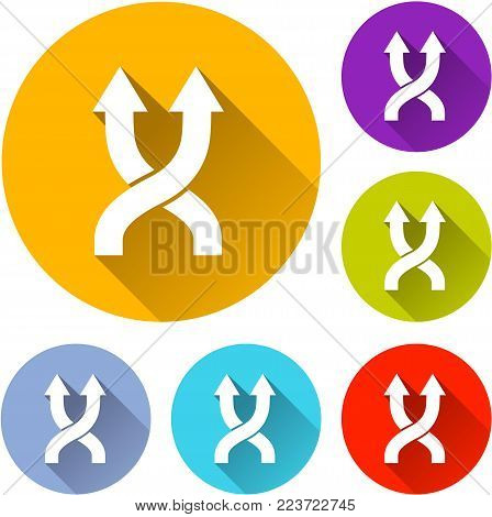 Illustration of six shuffle icons with shadow