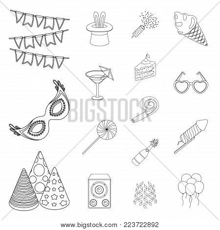 Party, entertainment outline icons in set collection for design. Celebration and treat vector symbol stock  illustration.