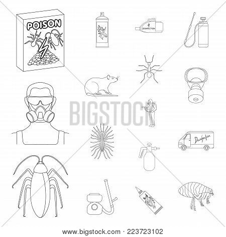 Pest, poison, personnel and equipment outline icons in set collection for design. Pest control service vector symbol stock illustration.