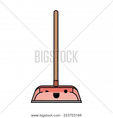 kawaii dustpan with wooden stick in colored crayon silhouette vector illustration