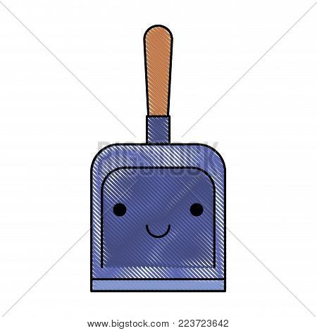 kawaii hand dustpan top view in colored crayon silhouette vector illustration
