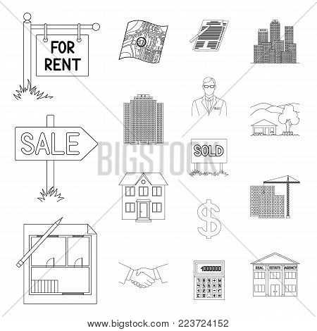 Realtor, agency outline icons in set collection for design. Buying and selling real estate vector symbol stock  illustration.
