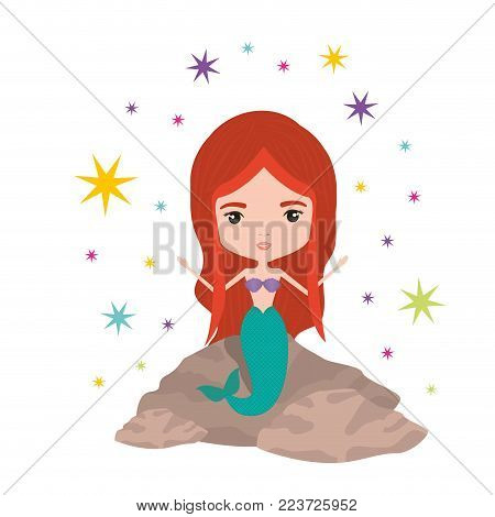 mermaid in a rock with colorful sparkles and stars on white background vector illustration
