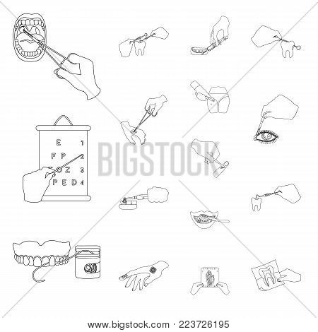 Manipulation by hands outline icons in set collection for design. Hand movement in medicine vector symbol stock illustration.