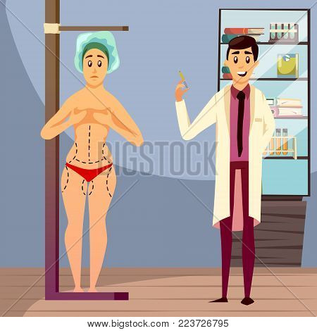 Aesthetic medicine orthogonal composition including doctor with syringe and naked woman with marks on body vector illustration