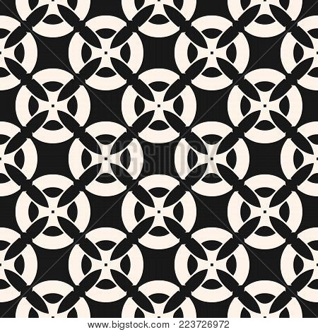 Vector seamless pattern with mosaic tiles. Monochrome geometric floral ornament, abstract background texture with flower shapes, carved grid, lattice. Black and white repeat design for textile, decor