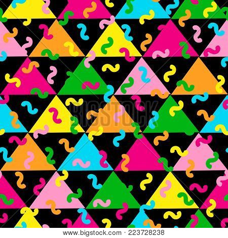 Colorful seamless pattern from triangles. Bright background. 80's - 90's years design style. Trendy. Vector illustration