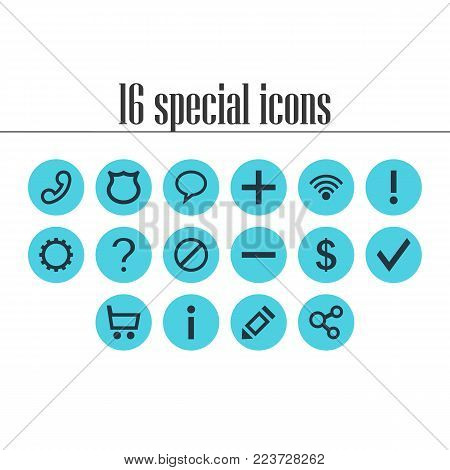 Vector illustration of 16 interface icons. Editable set of access denied, help, shield and other icon elements.