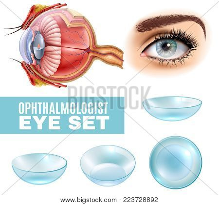 Ophthalmology realistic set of contact lens and human eye anatomy in side view isolated vector illustration