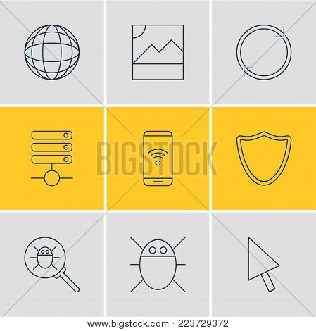 Vector illustration of 9 network icons line style. Editable set of database, reload, phone and other icon elements.