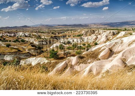 View on stone formations in Cappadocia, Central Anatolia, Turkey panorama