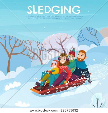 Winter recreation poster with sledging and family symbols flat  vector illustration