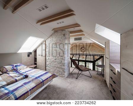 Attic apartment bedroom interior design