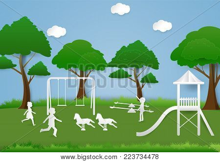 Children having fun playing at playground, Paper art background  paper cut illustration