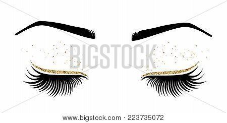 Vector illustration of eyes with long eyes lashes. For beauty salon, lash extensions maker.