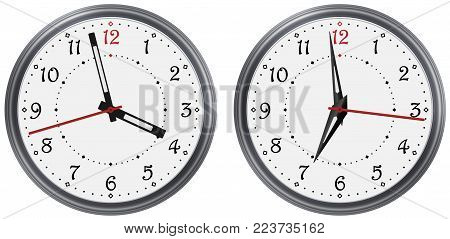 Vector set of modern round clock with various clock hands. Classic vector clock dial face. Vector clock arable numerals watch pointers. Modern vector watch.