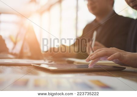 business inspector analyze financial plan report. businessman working with new startup project. internal auditor audit performance revenue at office.