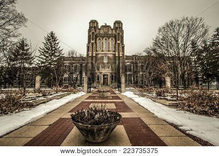 Saginaw, Michigan, USA - January 22, 2018: The exterior of the Gothic style Saginaw Waterworks building. Built in the 1920's, the building still serves as the water plant for Saginaw and surrounding areas.