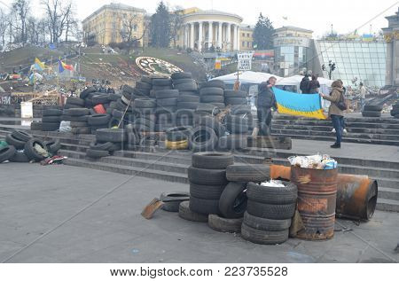 LBGT activists pro-Poroshenko riot. So-called Revolution of Dignity. Gays against corruption,for war with Russia and gay rights .Vandalism in downtown.February 11, 2014 Kiev, Ukraine