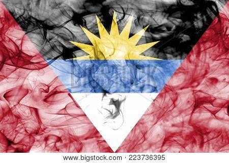 Antigua and Barbuda smoke flag isolated on a white background