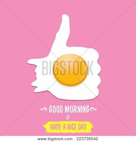 Fried Egg vector illustration. good morning concept. breakfast fried chicken egg with a orange yolk in the center of the fried egg flat laying on pink background. top view