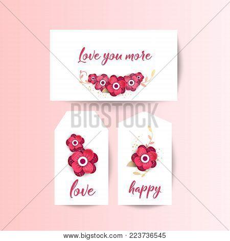 Love you more. Spring floral paper cut design vector set banner. Flower Arrangement for your design