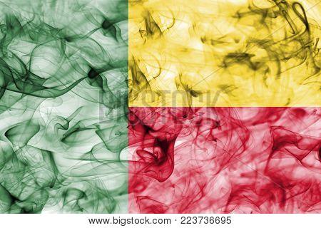 Benin smoke flag isolated on a white background