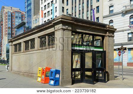 BOSTON - JUN. 13, 2015: Boylston Street Subway Station in Boston Common at the corner of Boylston Street and Tremont Street in downtown Boston, Massachusetts, USA.