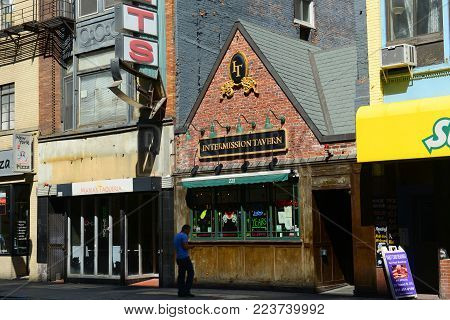 BOSTON - JUN. 13, 2015: Intermission Tavern on Tremont Street in downtown Boston, Massachusetts, USA.