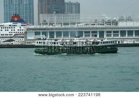 Ferry Ship In Victoria Harbour Hong Kong