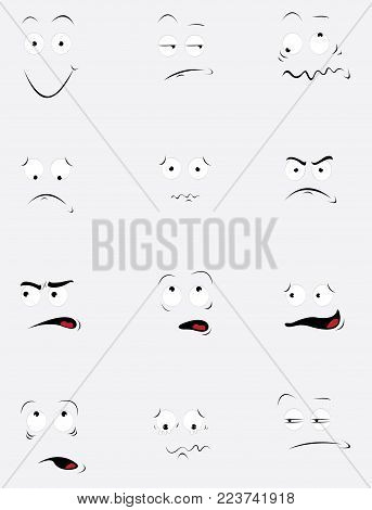 a vector cartoon representing a funny set of the same face in different expressions and behavior. Every object is singly grouped and you can easily add the expression you'll need to your design.