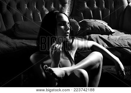 One Attractive Sexual Undressed Brunette Young Girl With Slim Body And Long Hair Smoking Cigarette S