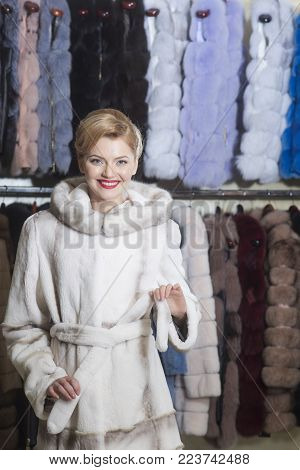 Purchase, Shopping, Business, Moneybags. Sensual Woman In Fur, Luxury, Moneybags, Business. Fashion