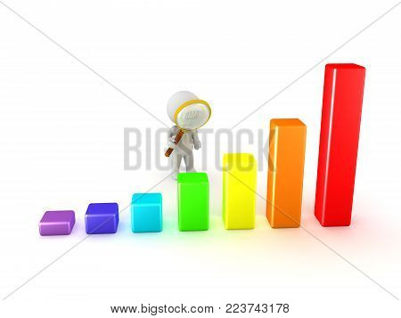 3D Character with magnifying glass looking at colorful chart graph. Isolated on white.