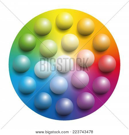 Color spectrum with many colored marbles - many balls placed upon a rainbow colored circle of the same colors. Illustration over white background.