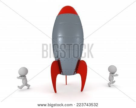 Two 3D characters running away from a large rocket. Isolated on white background.