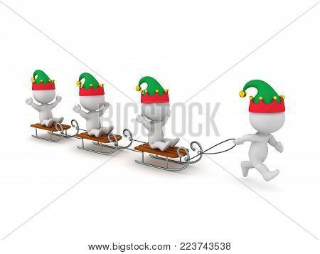 A 3D character in elf hat pulling three sleds with characters. Isolated on white background.