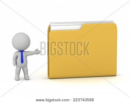 A 3D character showing a large yellow file folder. Isolated on white background.