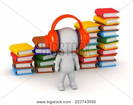 3D character listening to large headphones with many colorful books in the background. Audiobook concept. Isolated on white background.