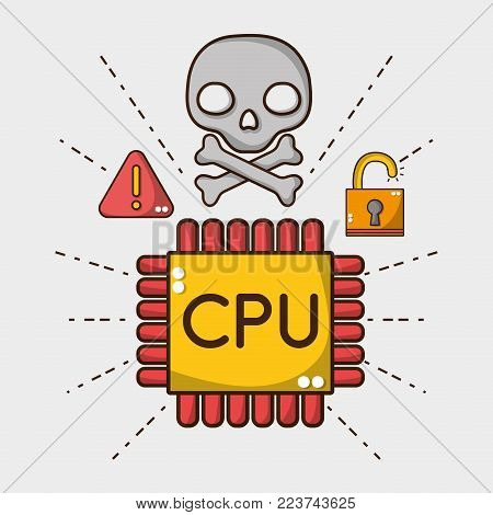 cpu chip with skull warning and padlock vector illustration