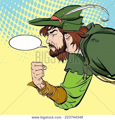 Robin Hood with a fist. Robin Hood in a hat with feather. Young soldier. Noble robber. Defender of weak. Medieval legends. Heroes of medieval legends.