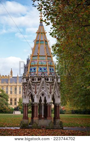 Buxton Memorial Fountain, a memorial and drinking fountain in Victoria Tower Gardens, Millbank, Westminster, London UK celebrating the emancipation of slaves in the British Empire in 1834